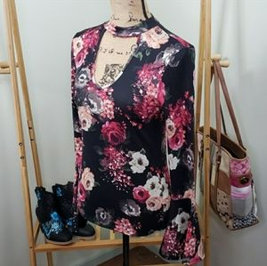 Moa Moa Flower Long Sleeves Small Flare Size XS